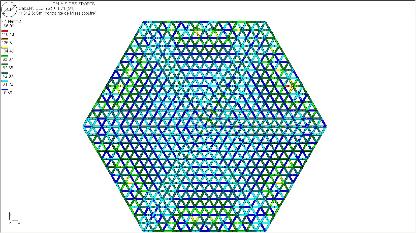 contraintes dans les diagonales entre les nappes inférieures et supérieures