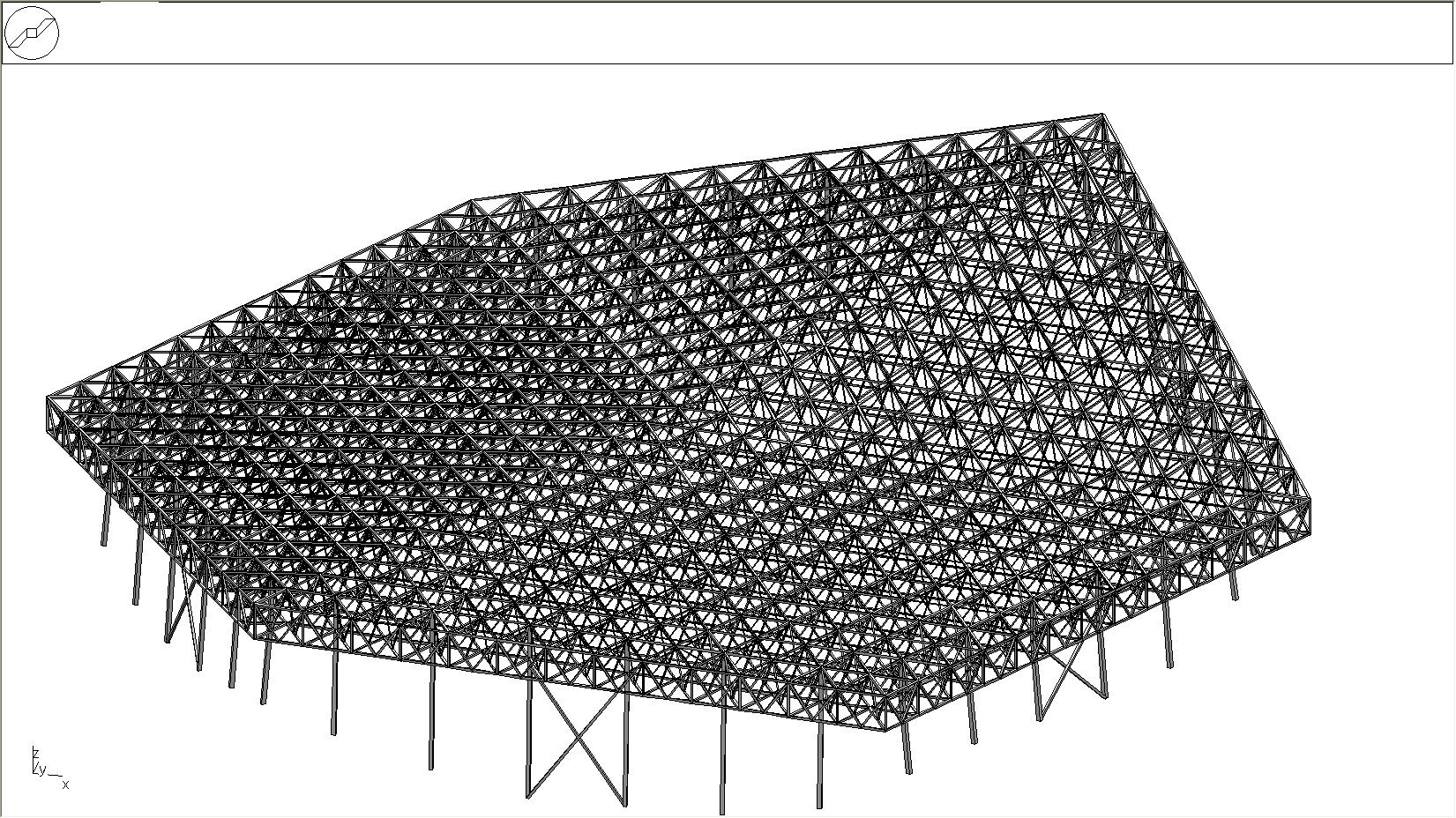 Ossature de nappe treillis 3D en acier